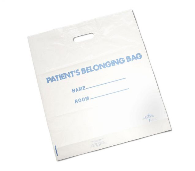 Medline Plastic Patient Bag w Handle 16x18 White 250Ct NON026350 by Medline