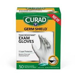CURAD Germshield 2-Color Nitrile Gloves One Size 1200Ct CUR6045 by Medline