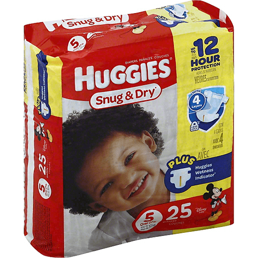 HUGGIES Snug & Dry Diapers, Size 5