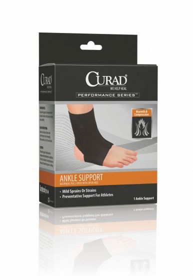 CURAD Performance Neoprene Open Heel Ankle Support L 4Ct ORT26200LD by Medline