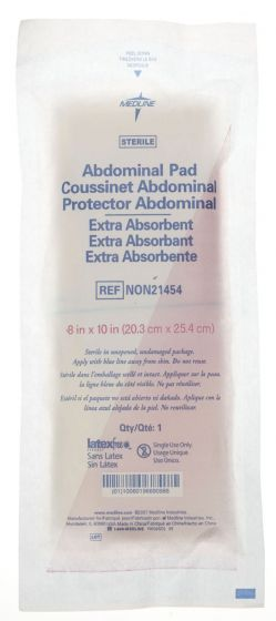 """Medline St Extra Absorbent Abdominal Pad 8""""x10"""" 18 Ct NON21454Z by Medline"""