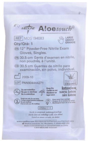 Aloetouch 12in Nitrile Exam Glove Sterile Pairs L 200Ct MDS194087 by Medline