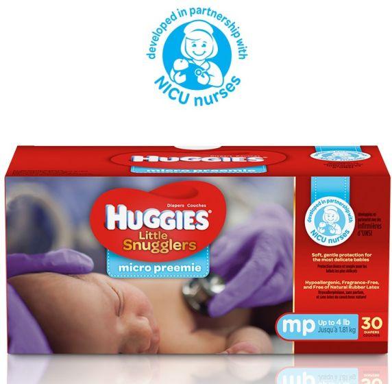 HUGGIES Little Snugglers Diapers, Size Micro-Preemie