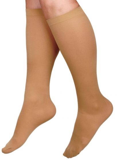 CURAD Knee Compression Hosiery 8-15mmHg Tan Lg Reg 1Pr MDS1712CTH by Medline