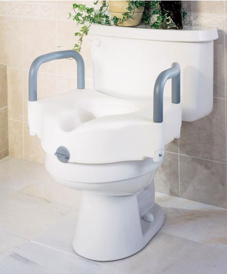 Medline Locking Raised Toilet Seat with Arms - Shop All PF154018 by Medline