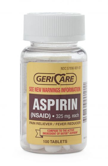 GeriCare Aspirin Tablets 325mg 100 Count OTC90101 by Geri-care Pharmaceuticals