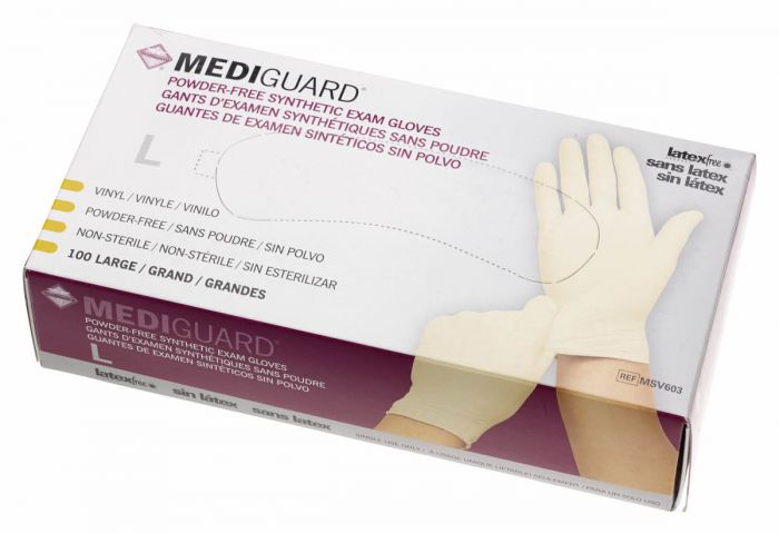 Medline MediGuard Synthetic Vinyl Exam Gloves L 1000Ct MSV603 by