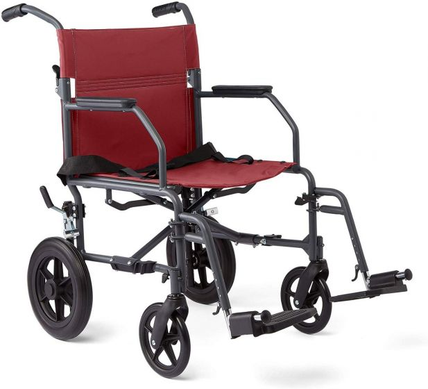 Medline Basic Aluminum Transport Chair Microban Burg 1Ct MDS808210KDR by Medline