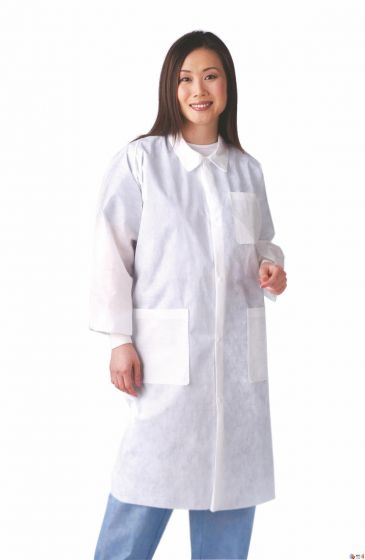 Disposable Knit-Cuff Multilayer Lab Coat with Traditional Collar, Size M NONSW100M by Medline