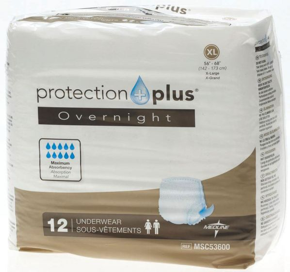 Medline Protection Plus Overnight Underwear XL 12Ct MSC53600H by Medline