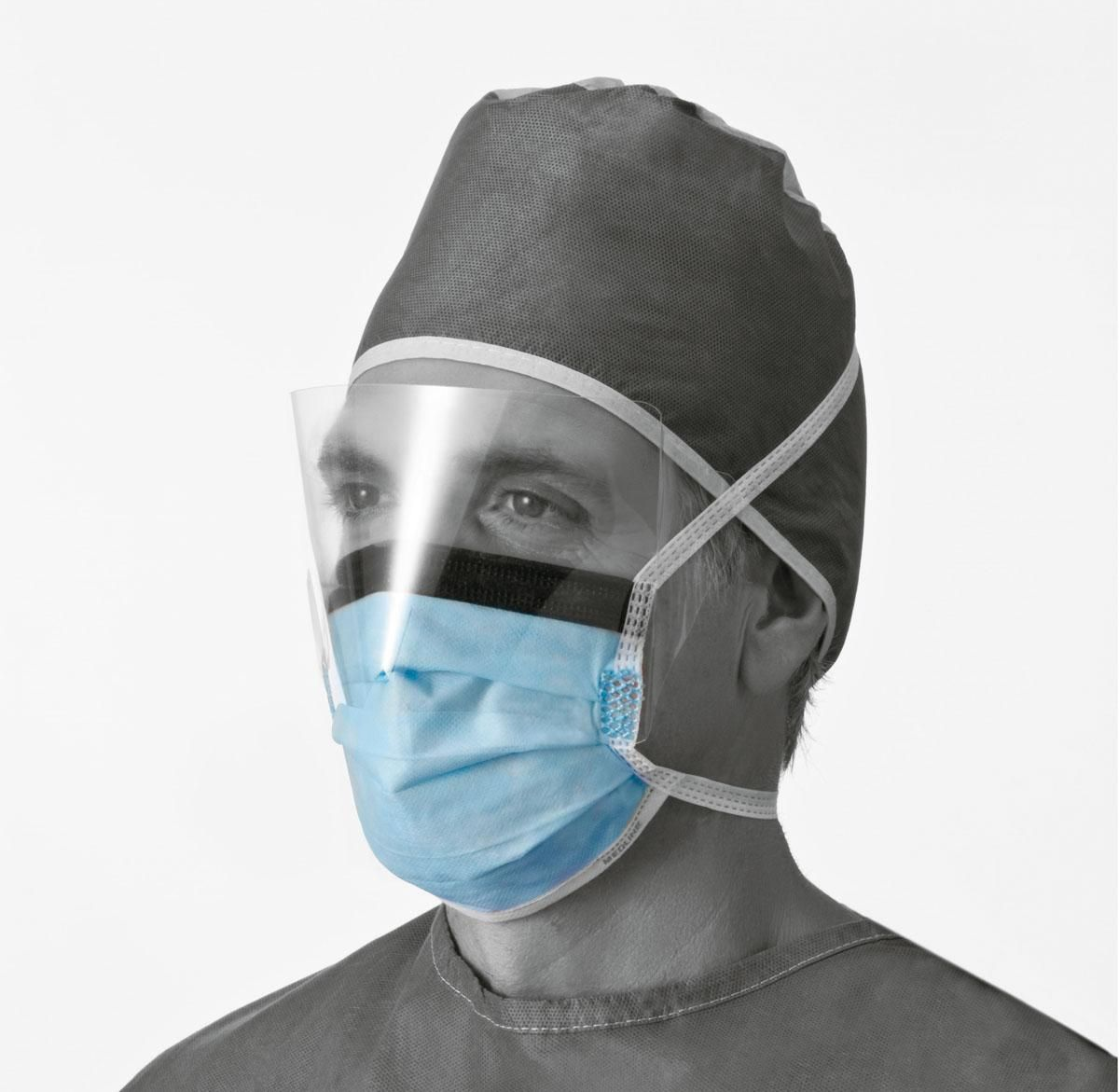 Anti-Fog Surgical Face Mask with Shield Blue 100Ct
