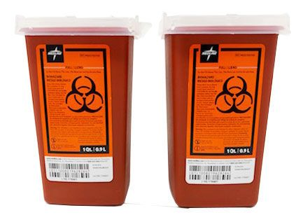 Portable Sharps Container With Lid, Red, 1 Qt (2 Pack) MDS705122H by Medline