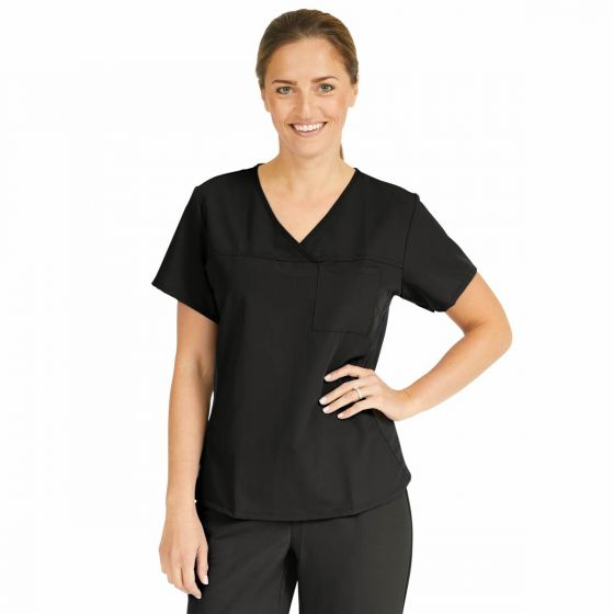 Michigan ave Women's Yoga-Style Stretch Scrub Top with 1 Pocket, Size S 5564BLKS by Medline