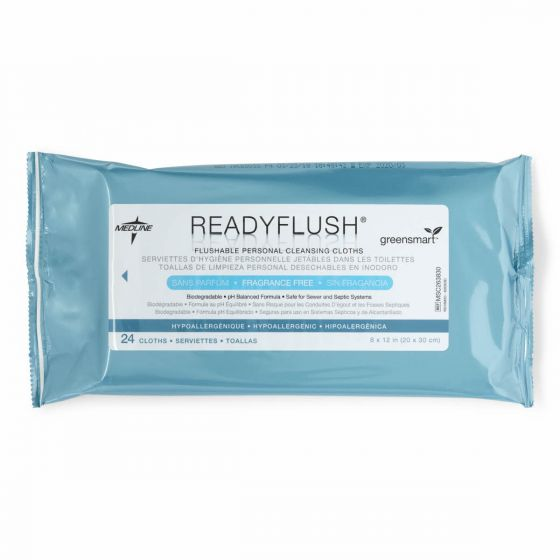 ReadyFlush SELECT Unscented Biodegradable Flushable Wipes 24Ct 24/CS MSC263830 by ReadyBath