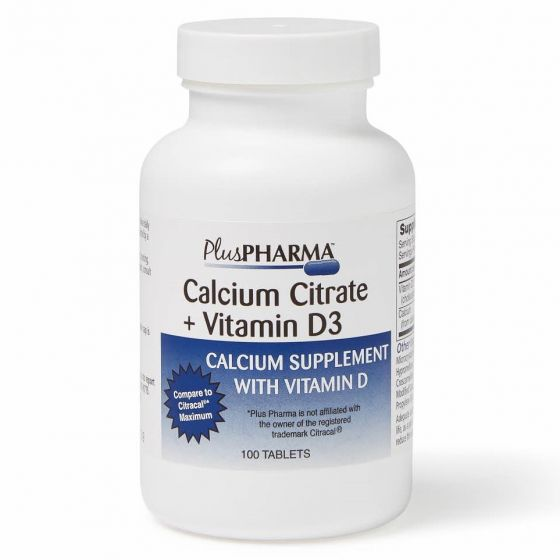 Calcium Citrate with Vitamin D3 Tablets, 500 mg Calcium, 500 IU Vitamin D3, Bottle of 100