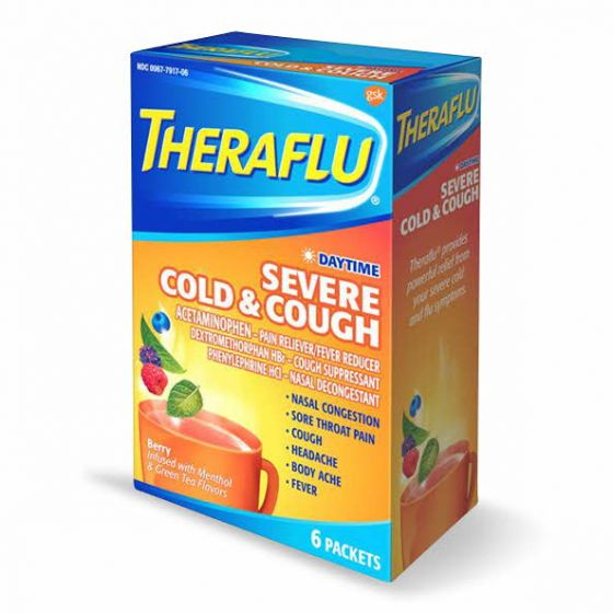 TheraFlu Daytime Severe Cold Cough Hot Liquid Powder 6Ct OTC791706 by Medline