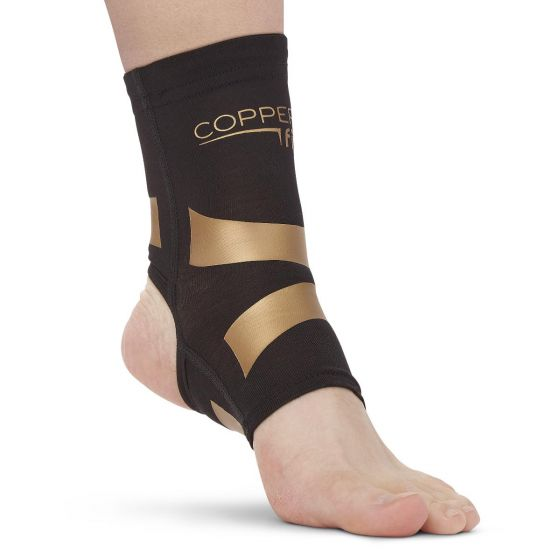 Copper Fit Ankle Compression Sleeve with Kinesiology Bands, Size M CFPROAKM by Cooper Fit