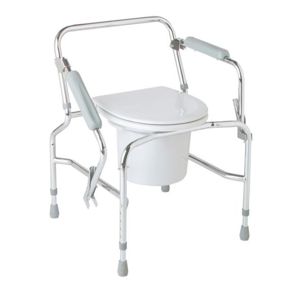 Chrome-Plated Steel Drop-Arm Commode