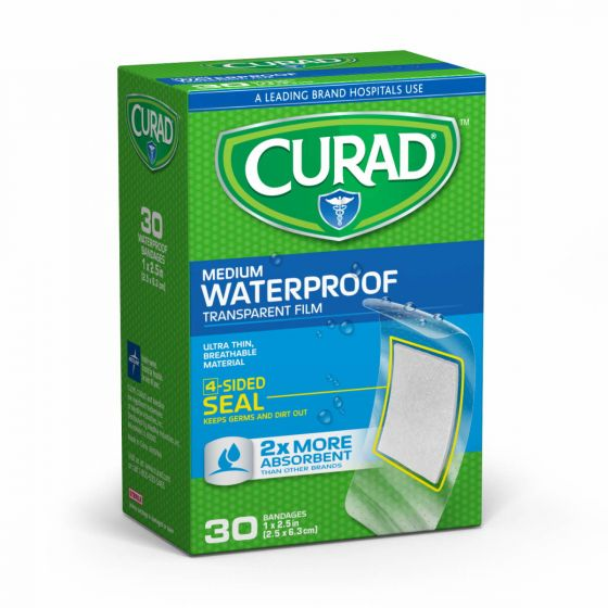 "CURAD Clear Waterproof Adhesive Bandages 1""x2.5"" 720 Ct CUR00005RB by Medline"