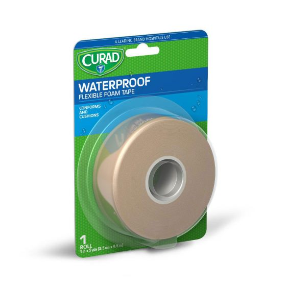 "CURAD Waterproof Flexible Foam Tape 1""x5yd 4 Count CUR26316RB by Medline"