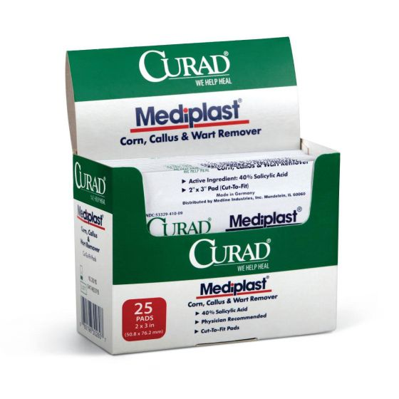 """CURAD Mediplast Wart Remover Pads 2""""x3"""" 1 Count"""