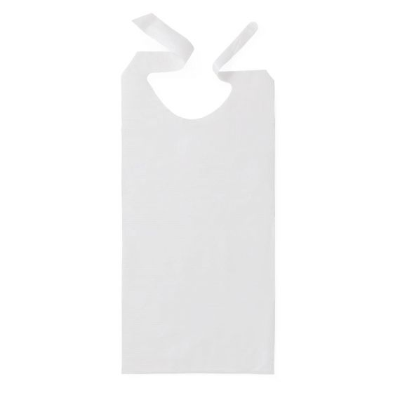 """Disposable Tissue/Poly-Backed Adult Bib with Ties, 16"""" x 33"""""""