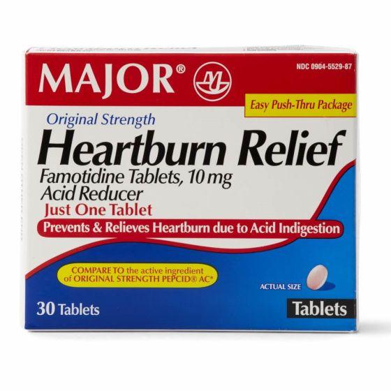 Famotidine Acid Reducer Heartburn Tablet 10mg 30Ct OTC552987 by Major Pharmaceutical