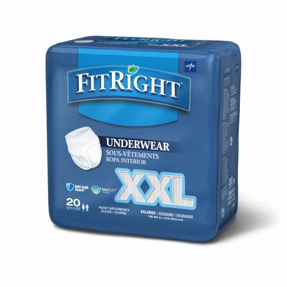 Medline FitRight Bariatric Disposable Underwear 2XL 80Ct FIT700A by Medline