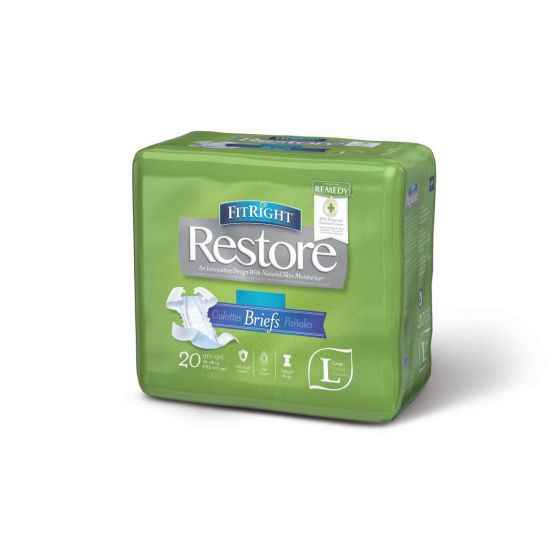 FitRight Restore Super Disposable Brief w Remedy L 80Ct FITRESTORELG by Medline