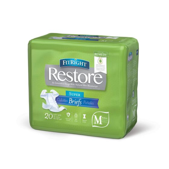 FitRight Restore Super Disposable Brief w Remedy M 80Ct FITRESTOREMD by Medline