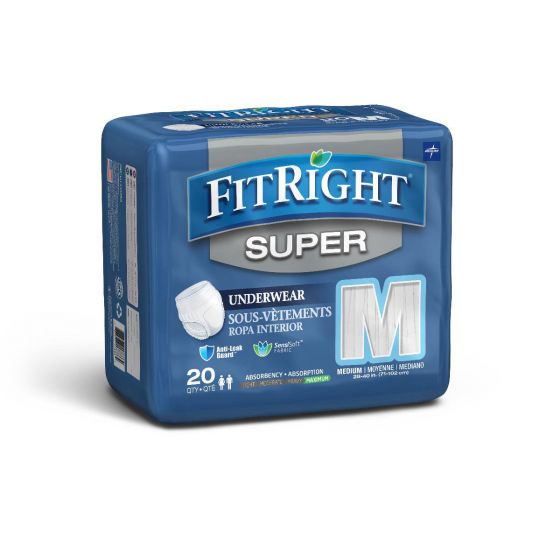 Medline FitRight Super Disposable Underwear M 80Ct FIT33005A by Medline