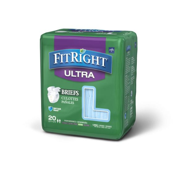Medline FitRight Ultra Disposable Briefs L 20Ct FITULTRALGZ by Medline