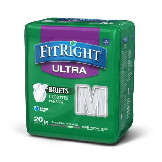 Medline FitRight Ultra Disposable Briefs M 80Ct FITULTRAMD by Medline