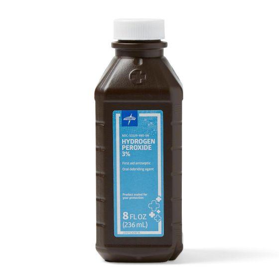 3% Hydrogen Peroxide 8oz Bottle 12Ct MDS098015 by Medline