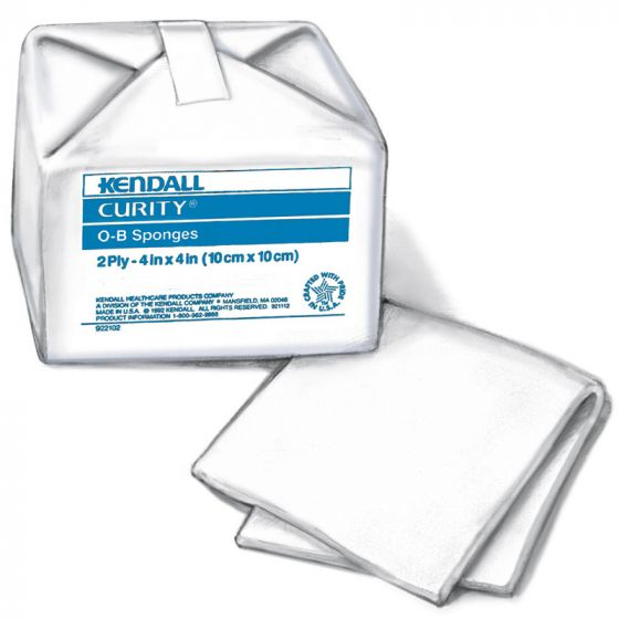Curity Cotton OB Sponges 4 x 4in 40/Bag KDL2818Z by Cardinal Health