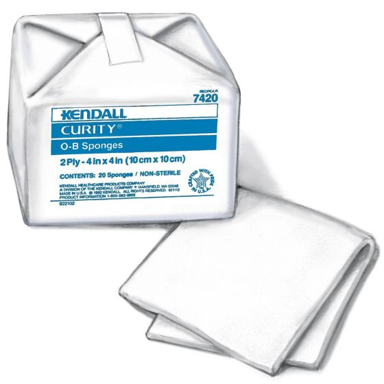 Curity Cotton OB Sponges, 4 x 4in 20/Bag KDL7420Z by Cardinal Health
