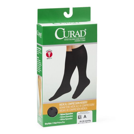 CURAD Knee-High Compression Hosiery with 20-30 mmHg, Size A, MDS1703ABH by Medline