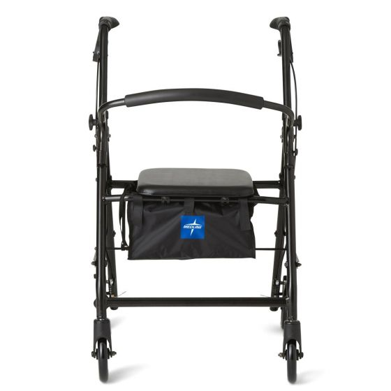Medline Basic Aluminum Rollator w 6in Wheels Black 1Ct MDS86830EBL by Medline