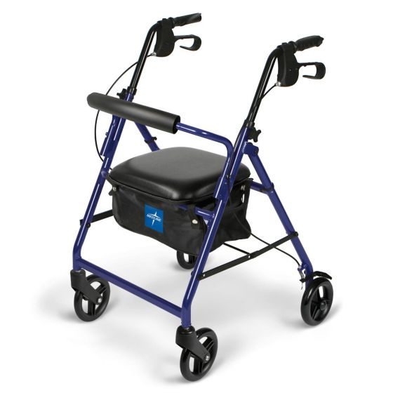 Medline Basic Aluminum Rollator w 6in Wheels Blue 1Ct MDS86850EB by Medline