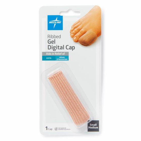 Medline Gel Ribbed Digital Toe Caps S/M 1 Count POD14203 by Medline