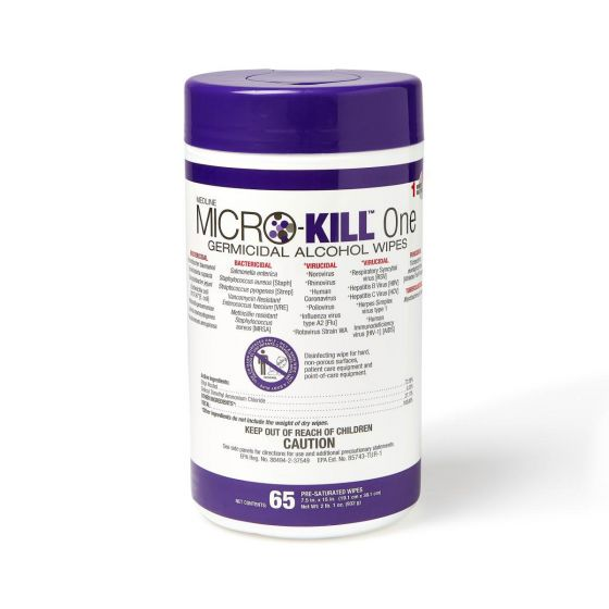 Micro-Kill One Germicidal Alcohol Wipes, 65 Count