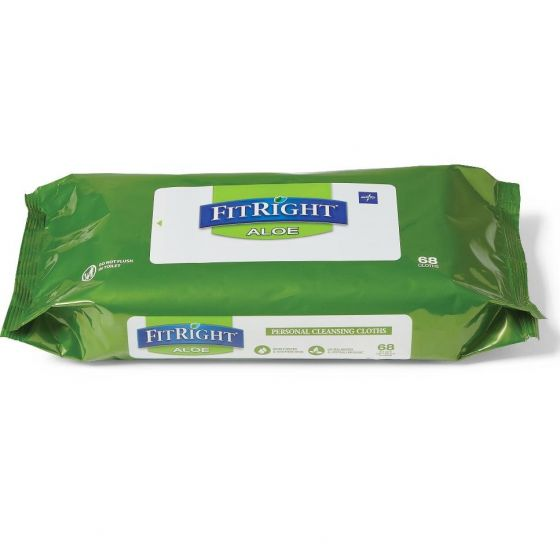 Medline FitRight Aloe Personal Cleansing Wet Wipes - Shop All PF66413 by Medline
