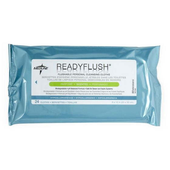 ReadyFlush Biodegradable Flushable Wipes Scented 24 Ct MSC263810H by Medline