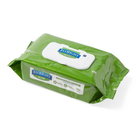 Medline FitRight Aloe Personal Wipes Unscented 100 Ct MSC263954H by Medline