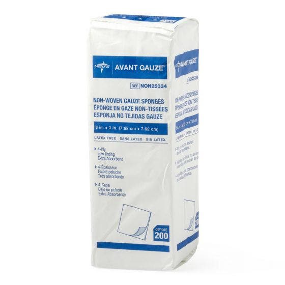 "Avant Gauze NS Nonwoven Sponge 4ply 3""x3"" 200 Count NON25334Z by Medline"