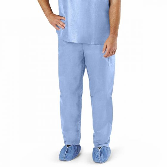 Medline Unisex Disposable Scrub Pant Elastic Blue M 30Ct NON27213M by Medline