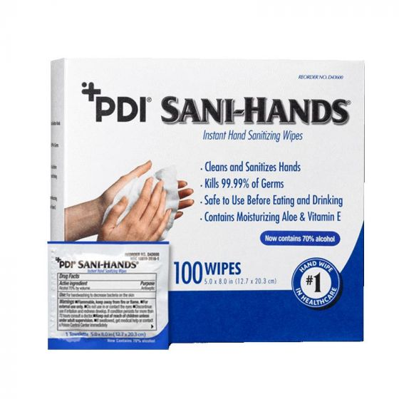 Sani-Hands Instant Hand Sanitizing Wipes 100 Count NPKD43600Z by