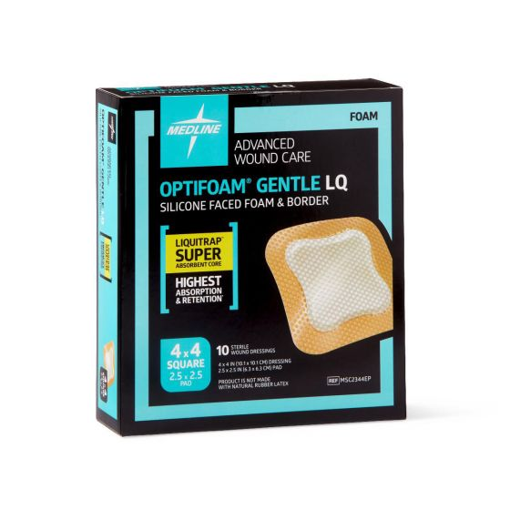 Optifoam Gentle Silicone-Faced Foam and Border with Liquitrap MSC2344EPZ by Medline
