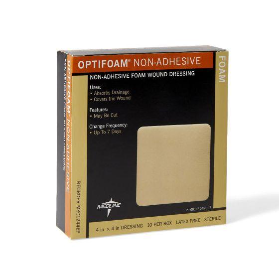 "Optifoam Nonadhesive Foam Dressing Edu Pkg 4""x4"" 10Ct MSC1244EPZ by Medline"
