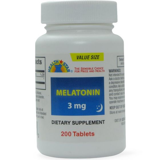 Health Star Melatonin Sleep Aid 3mg 200Ct OTC864200 by Health Star